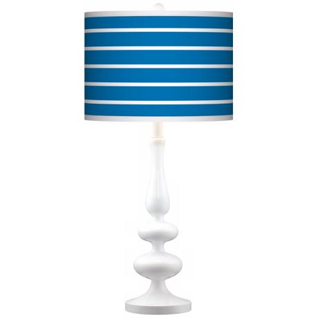 Bold Blue Stripe Giclee Paley White Table Lamp