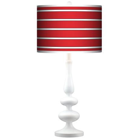 Bold Red Stripe Giclee Paley White Table Lamp