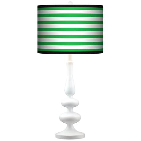 Green Horizontal Stripe Giclee Paley White Table Lamp
