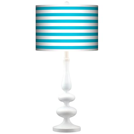 Aqua Horizontal Stripe Giclee Paley White Table Lamp