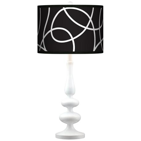 Abstract Giclee Paley White Table Lamp