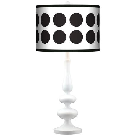 Black Orbs Giclee Paley White Table Lamp