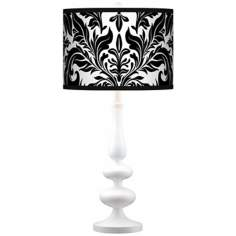 Black Tapestry Giclee Paley White Table Lamp