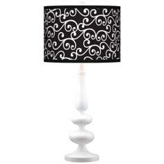 Curlicue Black Giclee Paley White Table Lamp