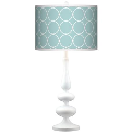 Aqua Interlace Giclee Paley White Table Lamp