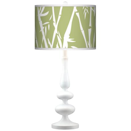 Lush Bamboo Giclee Paley White Table Lamp