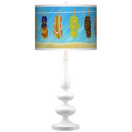 Summer Flip-Flops Giclee Paley White Table Lamp