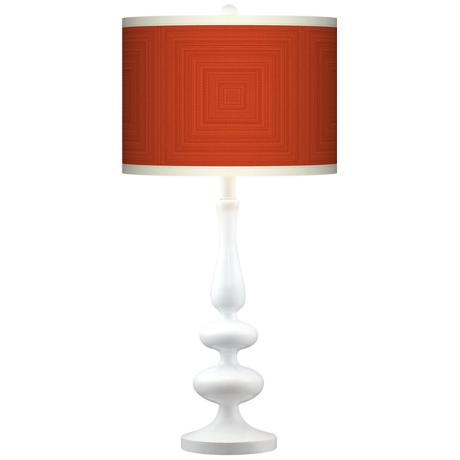 Stacy Garcia Crackled Square Coral Paley White Table Lamp
