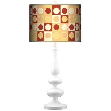 Retro Dotted Squares Giclee Paley White Table Lamp