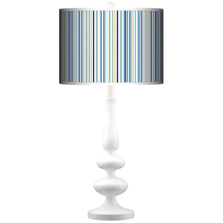 Stacy Garcia Cabana Stripe Giclee Paley White Table Lamp