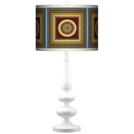 Stacy Garcia Tiber Medallion Garnet Paley White Table Lamp