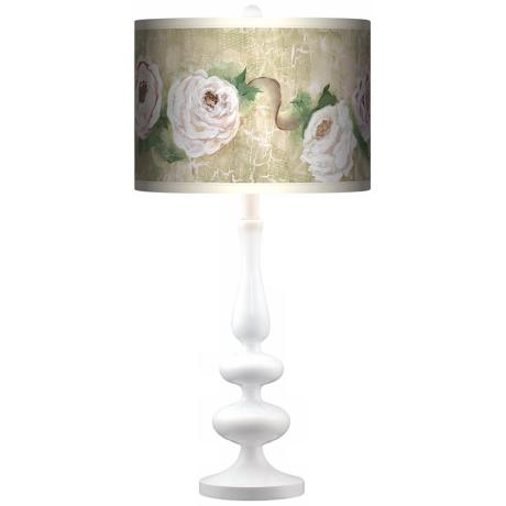 Tea House Rose Giclee Paley White Table Lamp