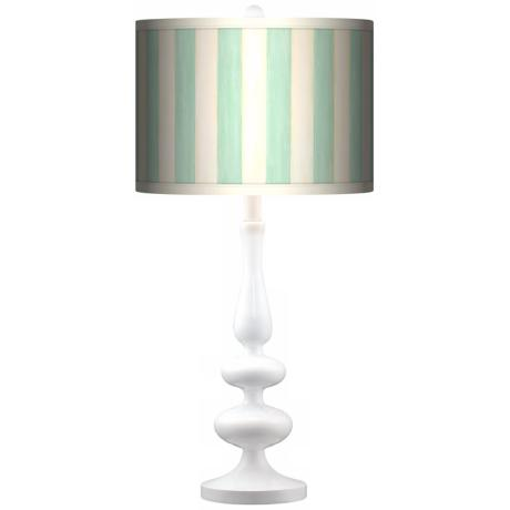 Seaside Stripe Green Giclee Paley White Table Lamp