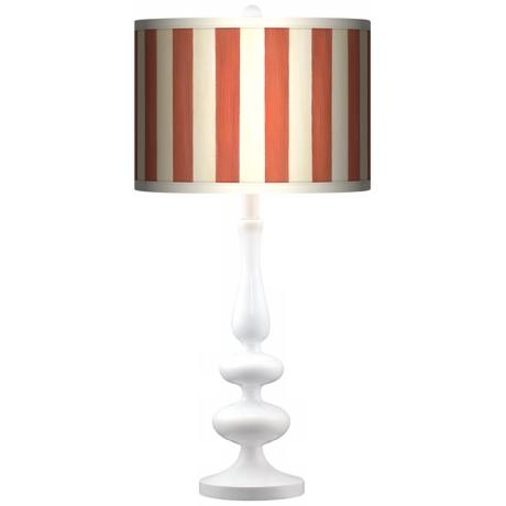Seaside Stripe Red Giclee Paley White Table Lamp