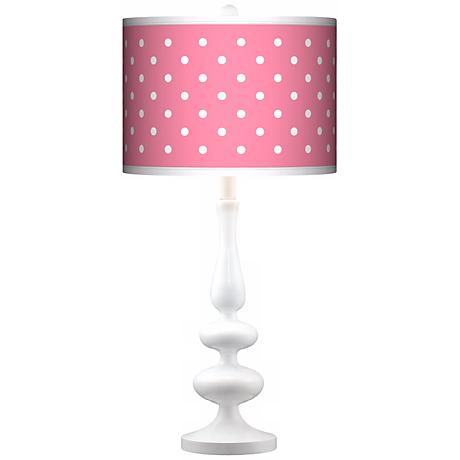 Mini Dots Pink Giclee Paley White Table Lamp