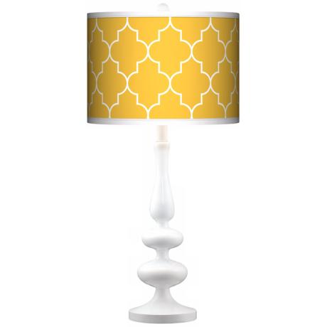 Tangier Yellow Giclee Paley White Table Lamp