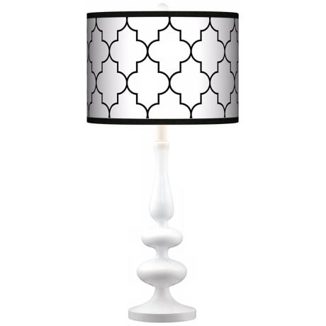 Tangier White Giclee Paley White Table Lamp