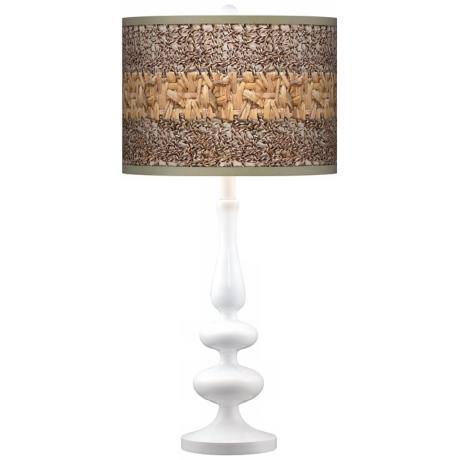 Woven Fundamentals Giclee Paley White Table Lamp