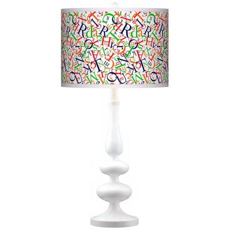 Alphasoup Primary Giclee Paley White Table Lamp