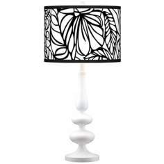 Jungle Moon Modern Gloss White Base Table Lamp