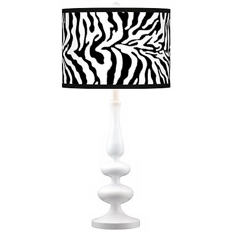 Safari Zebra Modern Gloss White Base Table Lamp