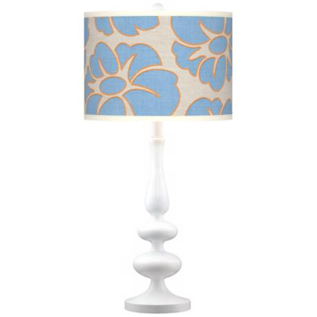Floral Blue Silhouette Giclee Paley White Table Lamp