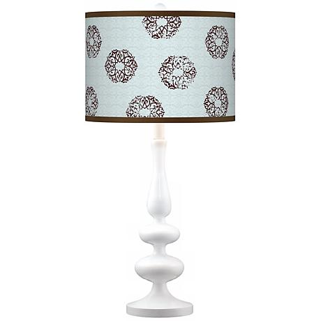 Weathered Medallion Giclee Paley White Table Lamp