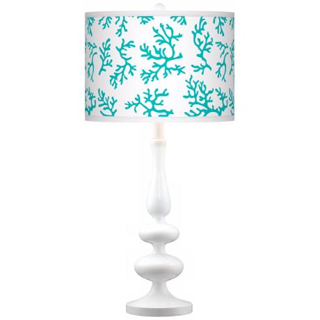 Turquoise Coral Giclee Paley White Table Lamp