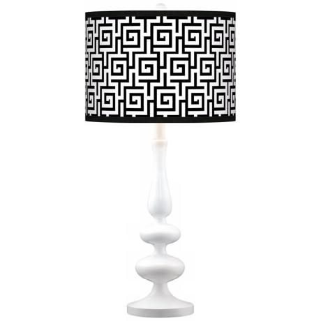 Greek Key Giclee Paley White Table Lamp