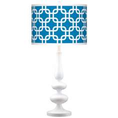 Blue Lattice Giclee Paley White Table Lamp