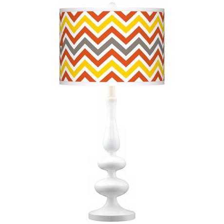 Flame Zig Zag Giclee Paley White Table Lamp