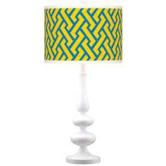 Yellow Brick Weave Giclee Paley White Table Lamp