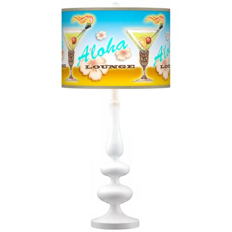 Aloha Lounge Giclee Paley White Table Lamp