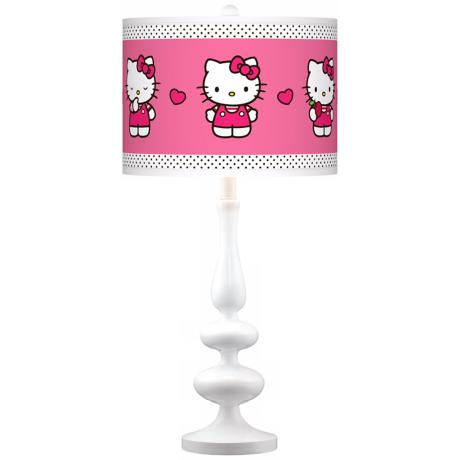 Hello Kitty Pink and Polka Dots Paley White Table Lamp