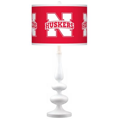 Nebraska Huskers Gloss White Table Lamp