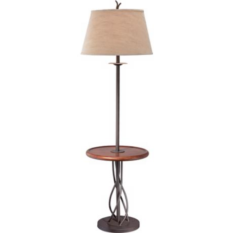 iron twist base wood tray table floor lamp n5774. Black Bedroom Furniture Sets. Home Design Ideas