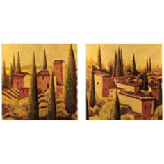 "Set of 2 Tuscan Village 12"" Square Lacquered Wall Art"