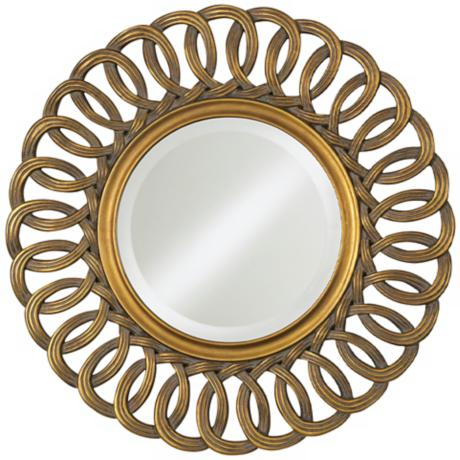 "Antique Gold Linked Loops 30"" High Round Wall Mirror"