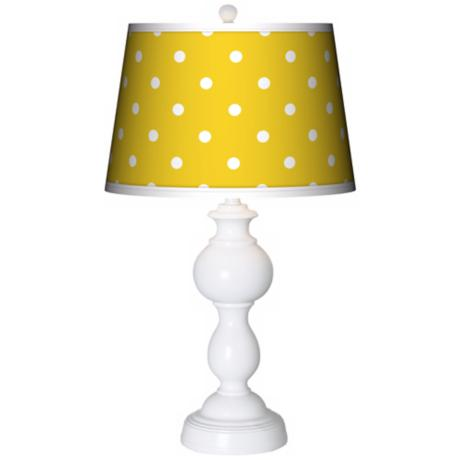 Mini Dots Yellow Giclee Sutton Table Lamp