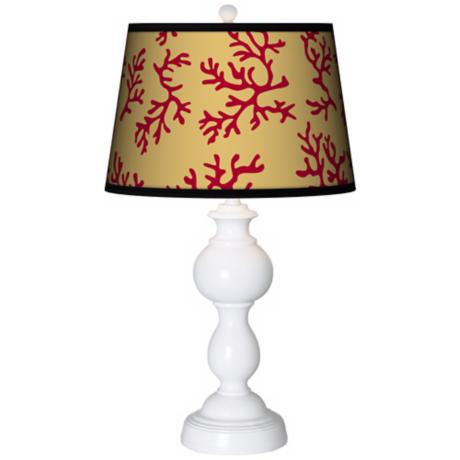 Crimson Coral Giclee Sutton Table Lamp