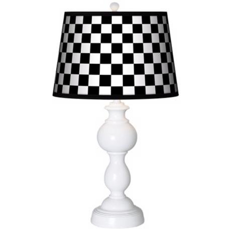 Checkered Black Giclee Sutton Table Lamp