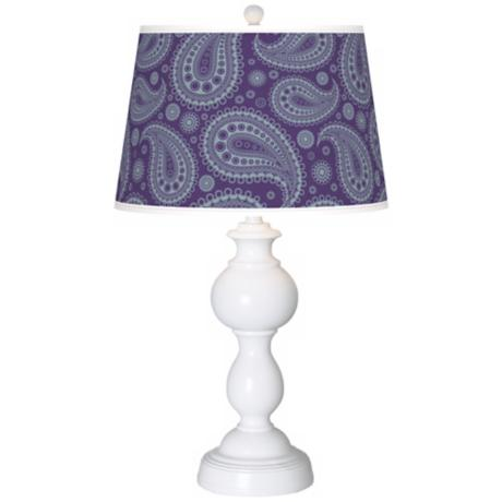 Purple Paisley Linen Giclee Sutton Table Lamp