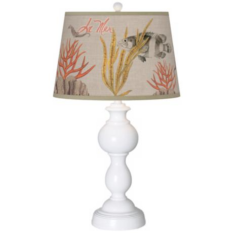 La Mer Coral Giclee Sutton Table Lamp