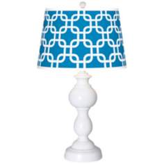Blue Lattice Giclee Sutton Table Lamp