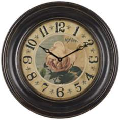 "Vintage Rose 30"" Wide Wall Clock"