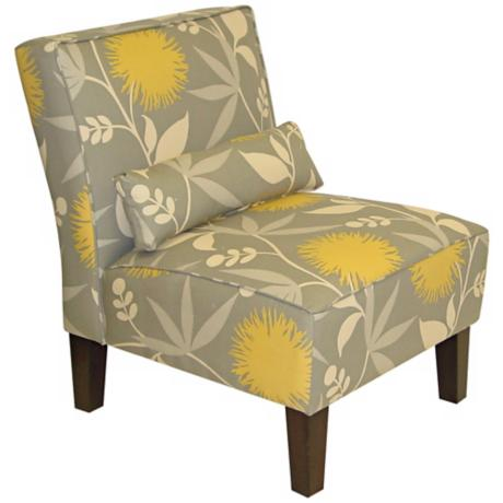 Gray Dandelion Print Armless Chair