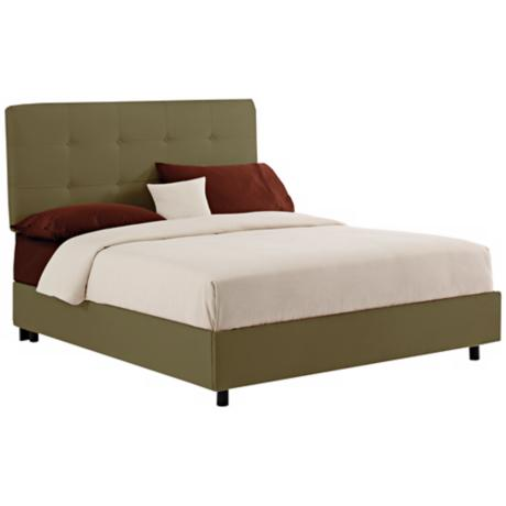 Sage Microsuede Tufted Bed