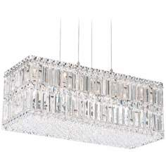 "Schonbek Quantum Collection 24"" Wide Block Crystal Pendant"