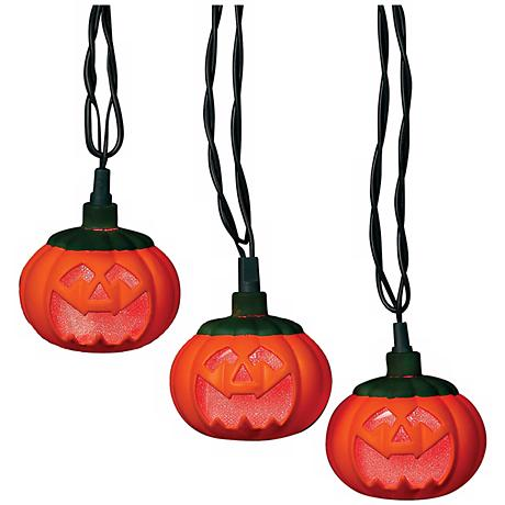 Pumpkins 10-Light String of LED Party Lights - #N6593 www.lampsplus.com