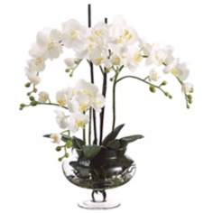 Cream Orchids in Clear Glass Vase Faux Flowers